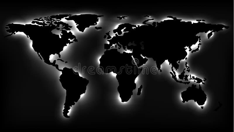 Zwart-wit Kaart van de Wereld met Neonlichten vector illustratie