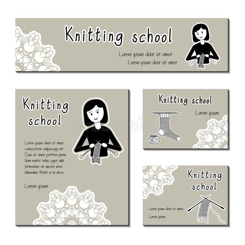 Zwart-wit kaartenmalplaatje voor het breien van school, garenwinkel Het vlakke meisje van de pictogrambreister Reeks van malplaat stock illustratie
