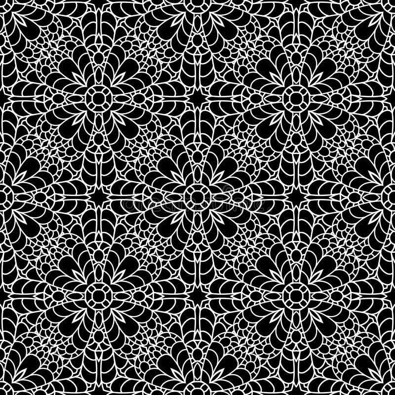 Zwart-wit kantornament, naadloos patroon stock illustratie