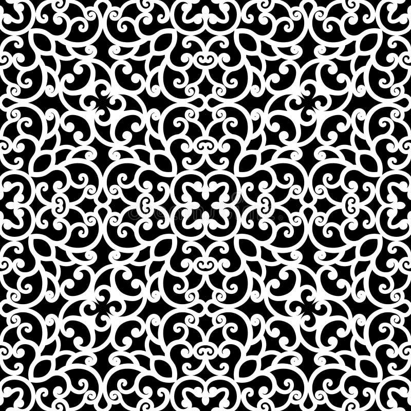 Zwart-wit kantpatroon royalty-vrije illustratie