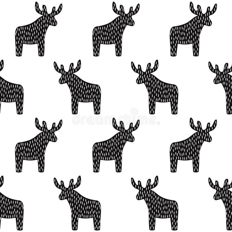 Zwart-wit Kerstmispatroon met rendier stock illustratie