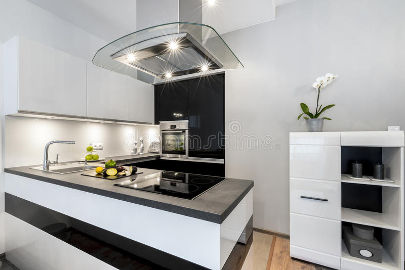 Zwart wit keuken modern binnenlands ontwerp stock foto afbeelding