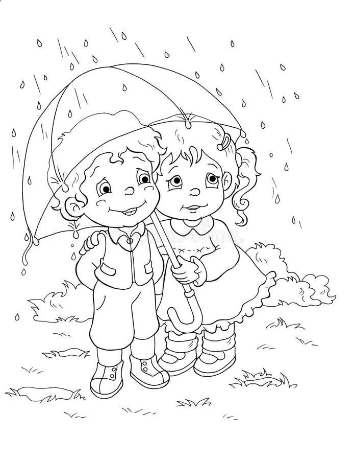 Zwart-wit - Kinderen en de regen royalty-vrije illustratie