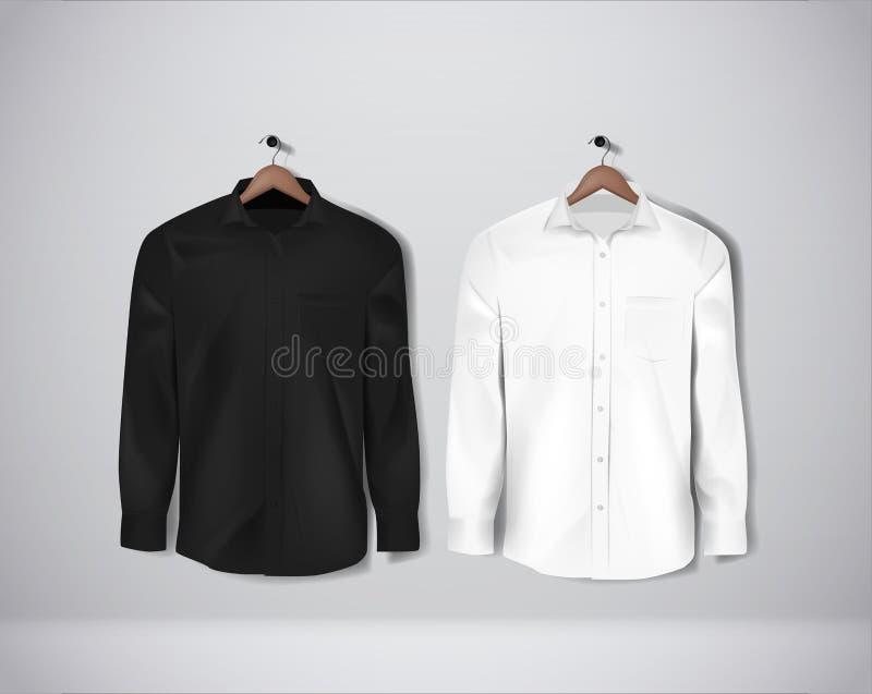 Zwart-wit kleuren formeel overhemd Leeg overhemd met knopen royalty-vrije stock afbeelding