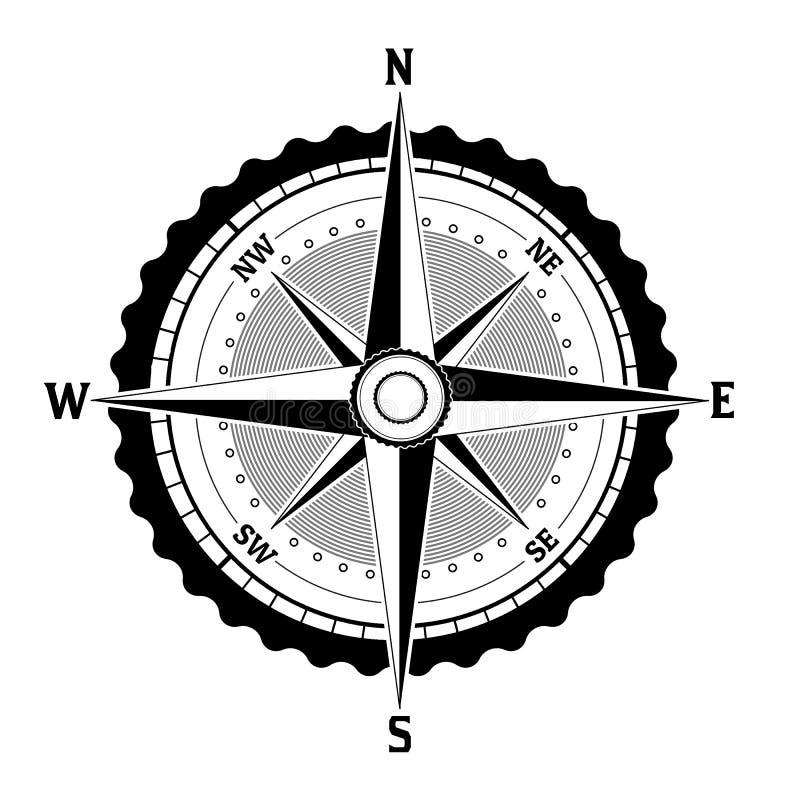 Zwart-wit kompaspictogram royalty-vrije stock afbeelding