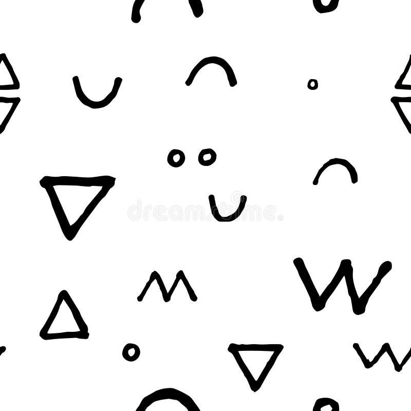 Zwart-wit krabbel naadloos patroon Ruime gekrabbelde druk vector illustratie