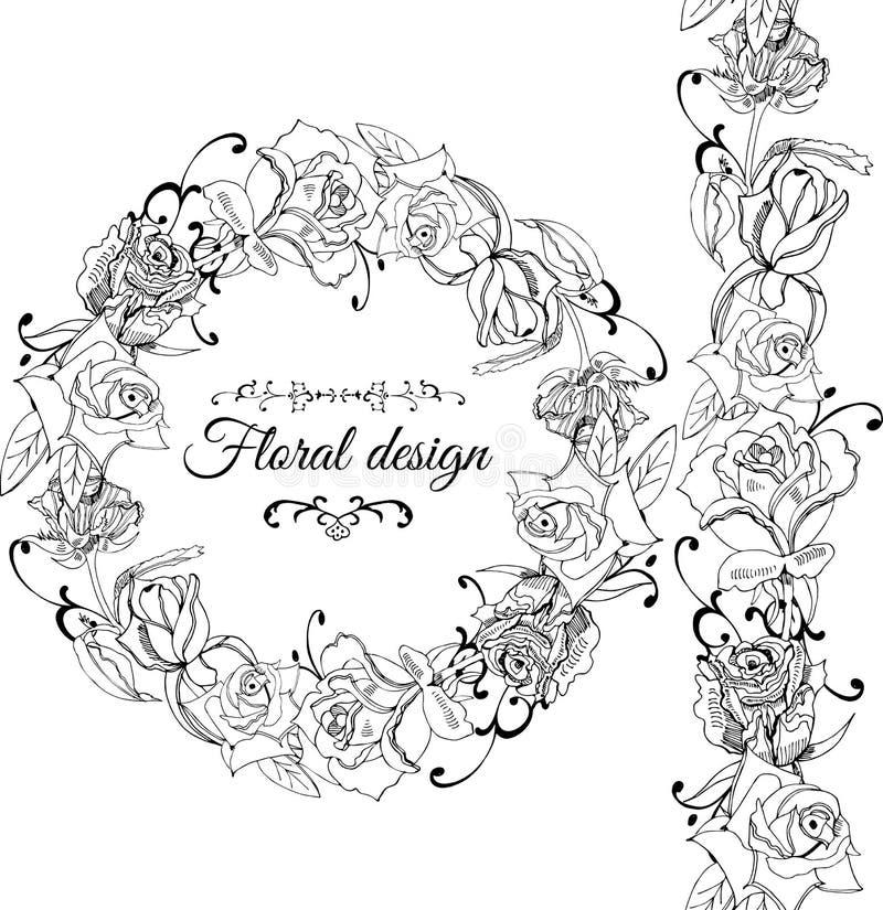 Zwart-wit kroon en eindeloze borstel met roze die bloemen met bladeren en draaien op witte achtergrond worden geïsoleerd Hand get royalty-vrije illustratie