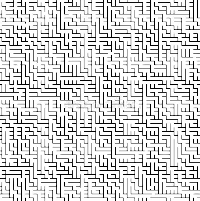 Zwart-wit labyrint stock illustratie