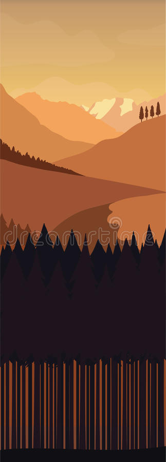 Zwart-wit landschap vector illustratie