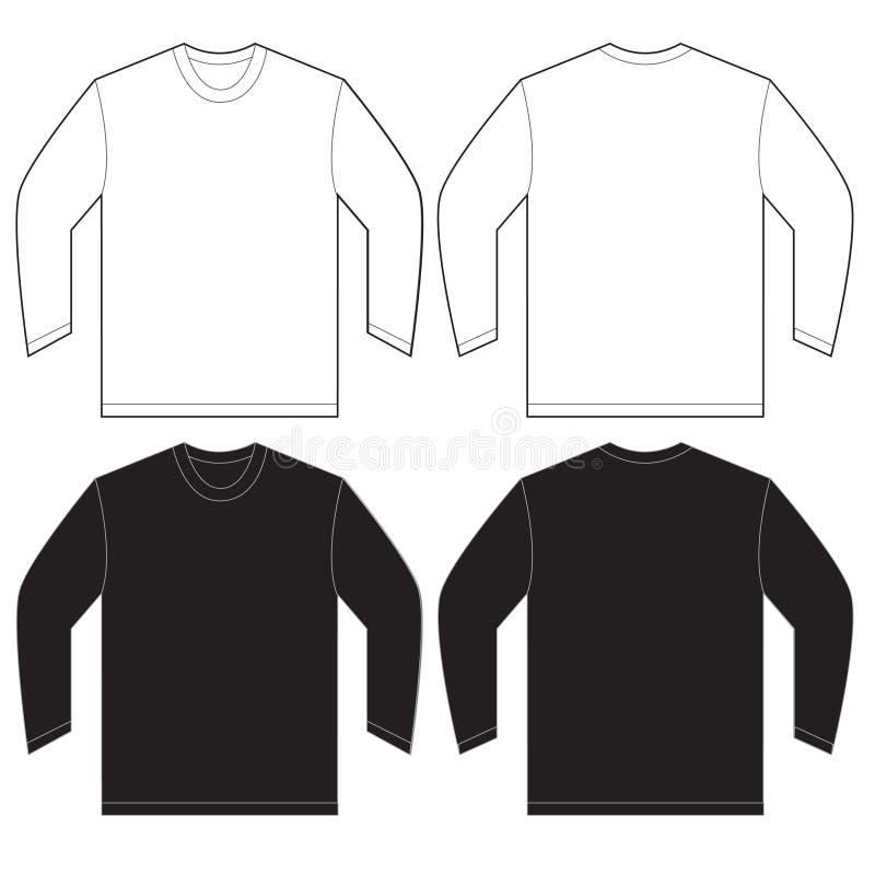 Zwart Wit Lang het Ontwerpmalplaatje van de Kokert-shirt royalty-vrije illustratie