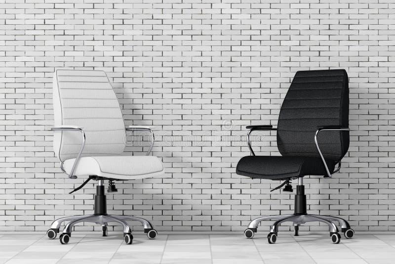Zwart-wit Leer Chef- Office Chairs het 3d teruggeven stock illustratie
