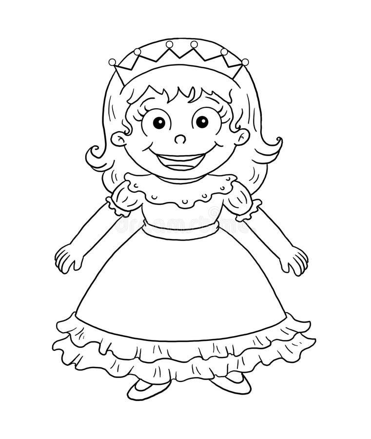 Zwart-wit - leuke prinses royalty-vrije illustratie