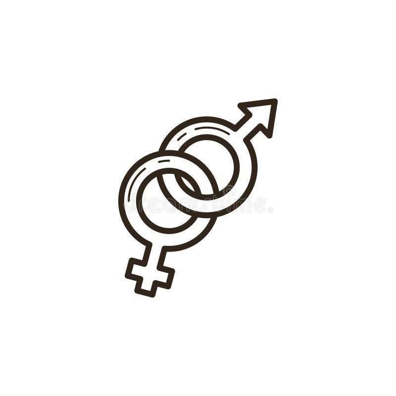 Zwart-wit lineair pictogram van verweven symbolen van verschillende geslachten stock illustratie