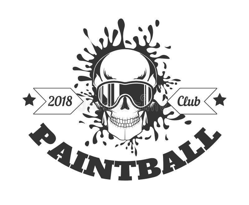Zwart-wit logotype van de Paintballclub 2018 met schedel in masker royalty-vrije illustratie