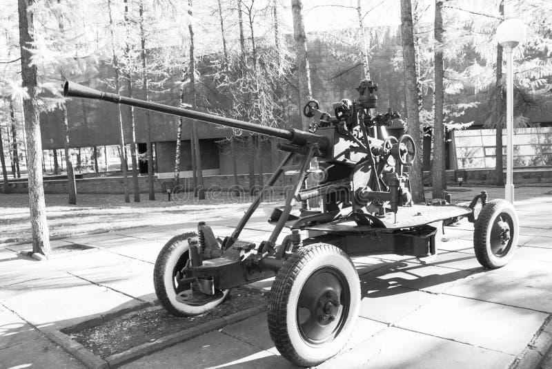 Zwart-wit luchtafweerkanon royalty-vrije stock foto