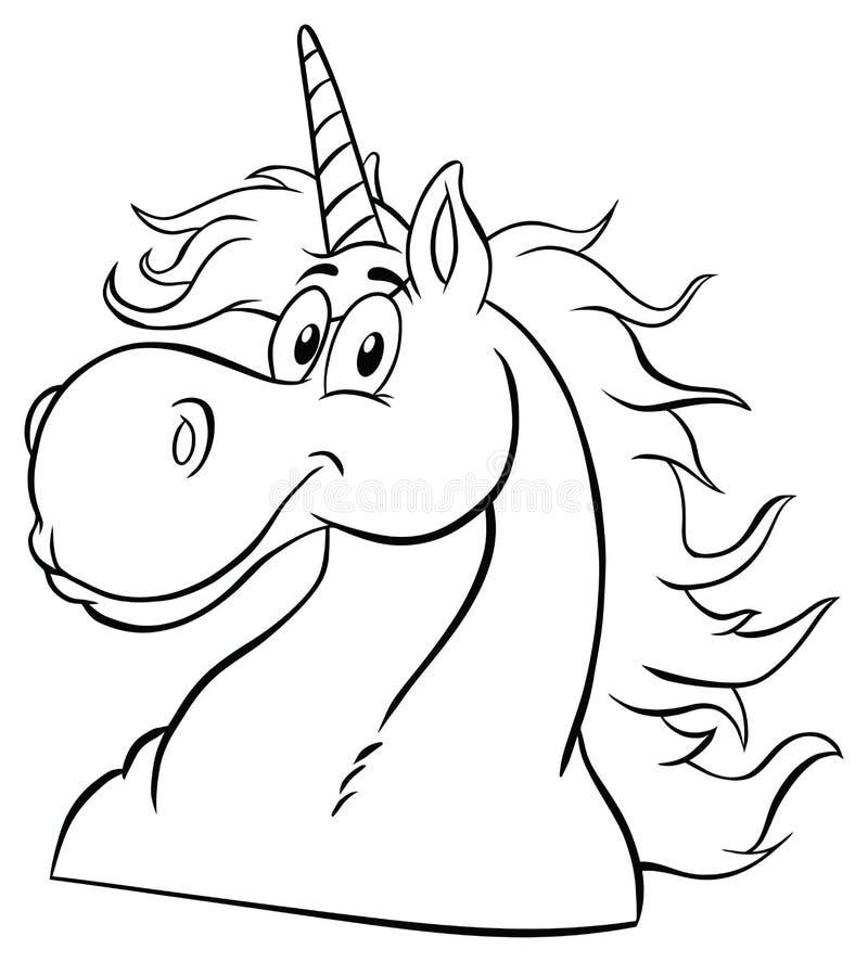 Zwart-wit Magisch Unicorn Head Classic Cartoon Character stock illustratie
