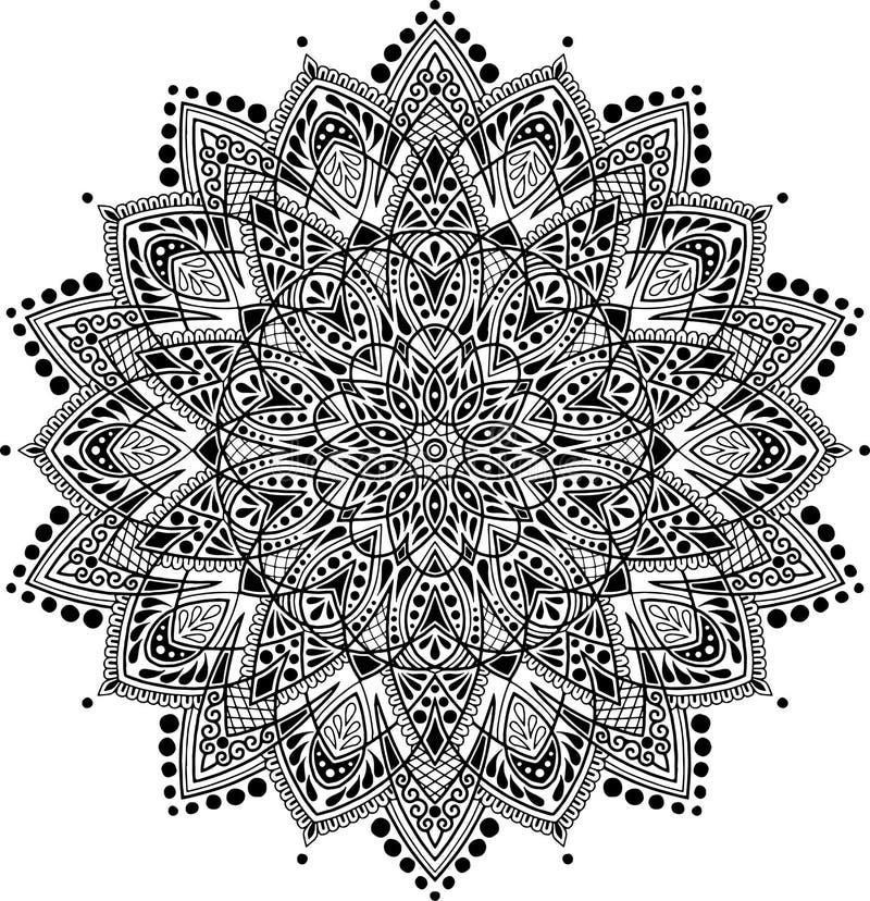 Download Zwart-wit Mandalapatroon stock illustratie. Illustratie bestaande uit decor - 114226871