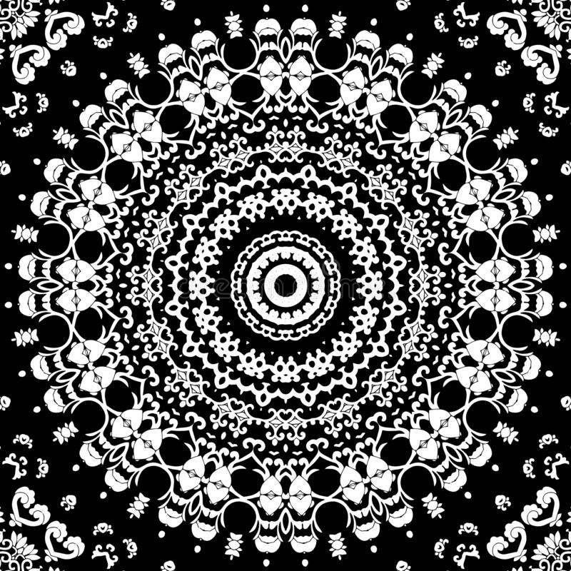 Zwart-wit mandalapatroon stock illustratie