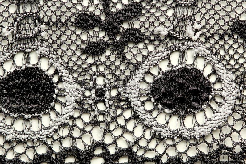 Zwart-wit materieel de textuur macroschot van het bloemenkant royalty-vrije stock foto