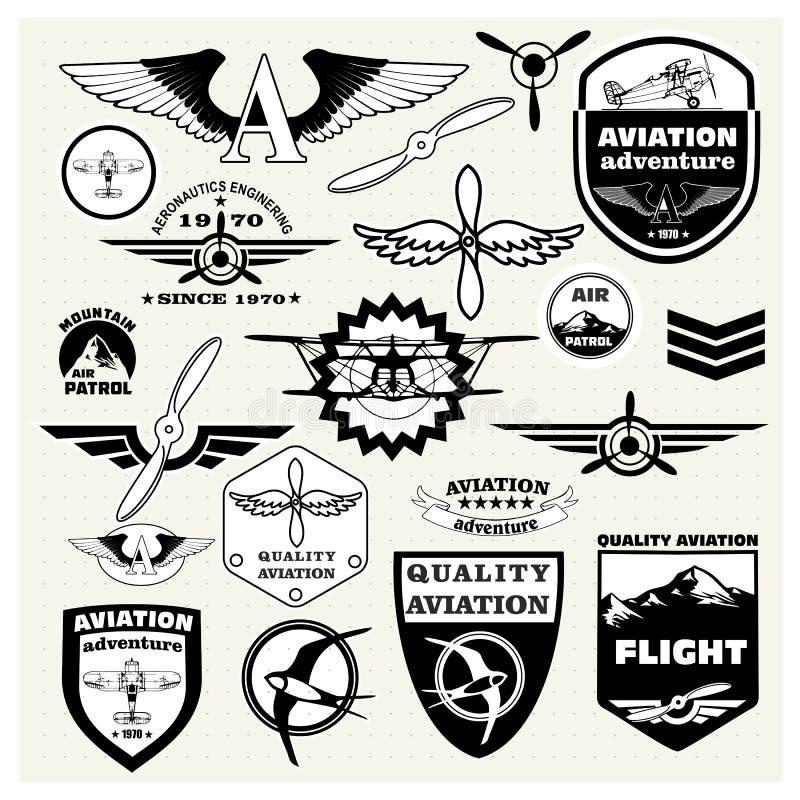 Zwart-wit Megareeks van de themaluchtvaart stock illustratie