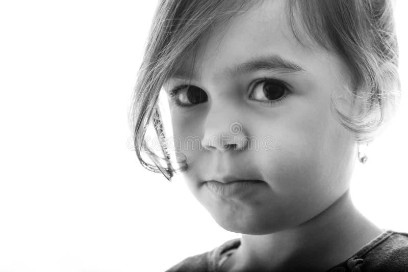 Zwart-wit meisjesportret stock afbeeldingen