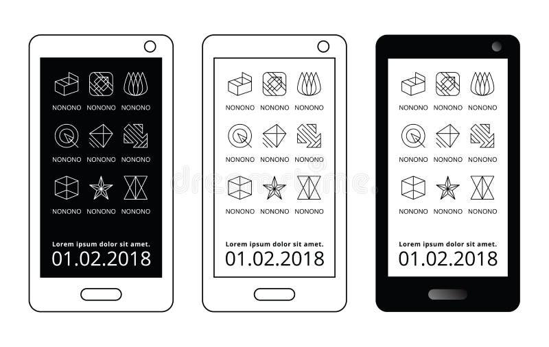 Zwart-wit mobiel malplaatje Abstracte app van het lijnpictogram geometrische interface stock illustratie