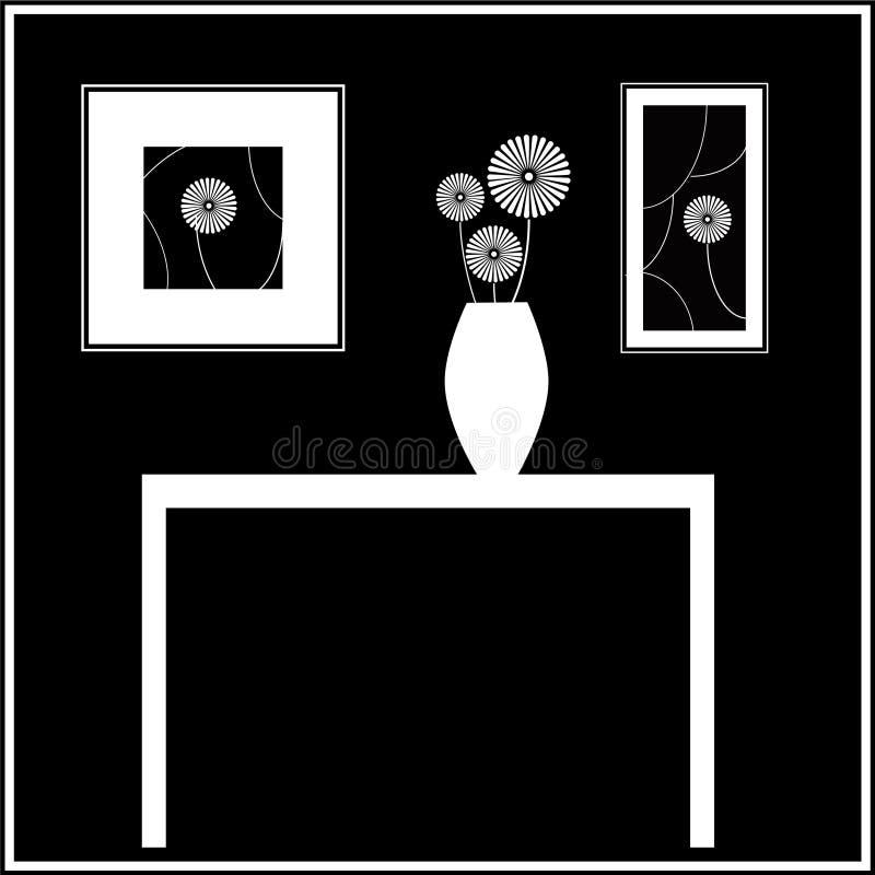 Zwart-wit Mod. StillLife van Vaas en Bloemen vector illustratie