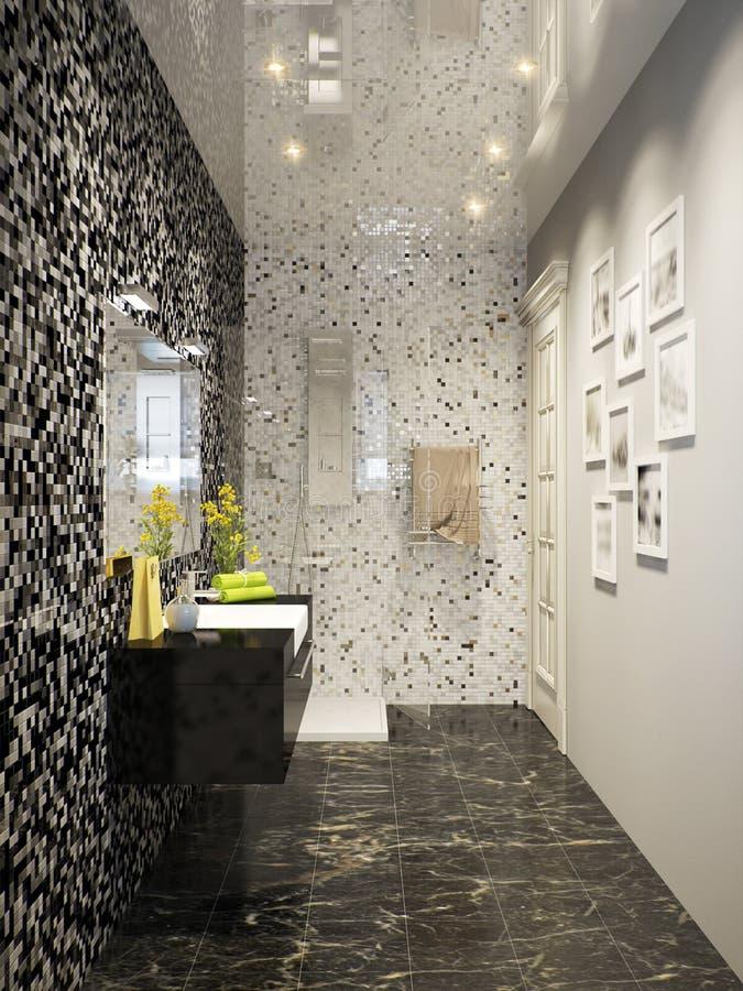 Zwart-wit Modern Badkamers Binnenlands Ontwerp In Mozaïek Stock ...