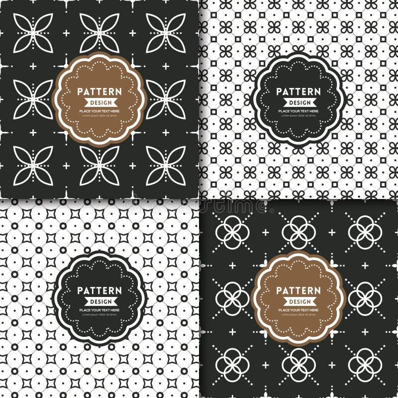 Zwart-wit modern geometrisch motief naadloos patroon stock illustratie
