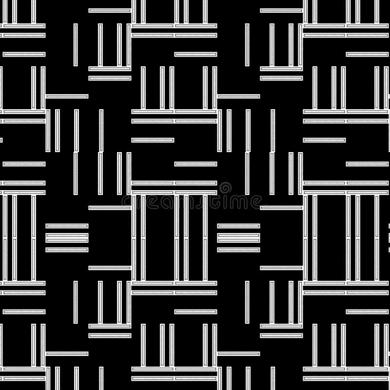 Zwart-wit modern het herhalen patroon met horizontale en verticale strepen stock illustratie