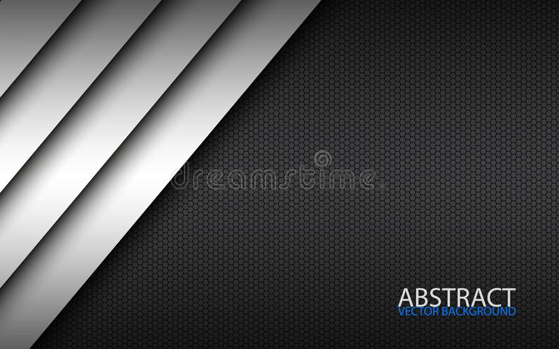 Zwart-wit modern materieel ontwerp met een hexagonaal patroon, collectief malplaatje voor uw zaken stock illustratie