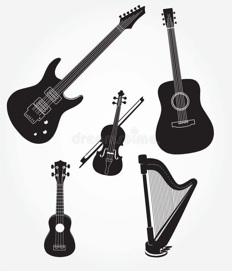Zwart-wit muziekinstrument stock afbeelding