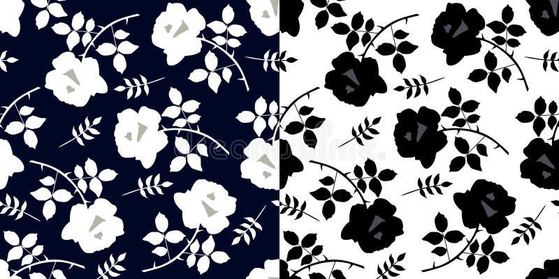 Zwart-wit naadloos bloemenpatroon met roze bloemen en bladeren Zwart-wit druk voor stof Luxeinzameling royalty-vrije illustratie