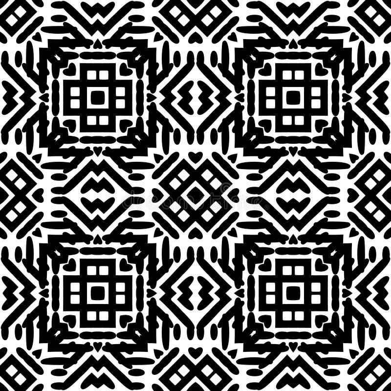 Zwart-wit Naadloos Etnisch Patroon royalty-vrije illustratie