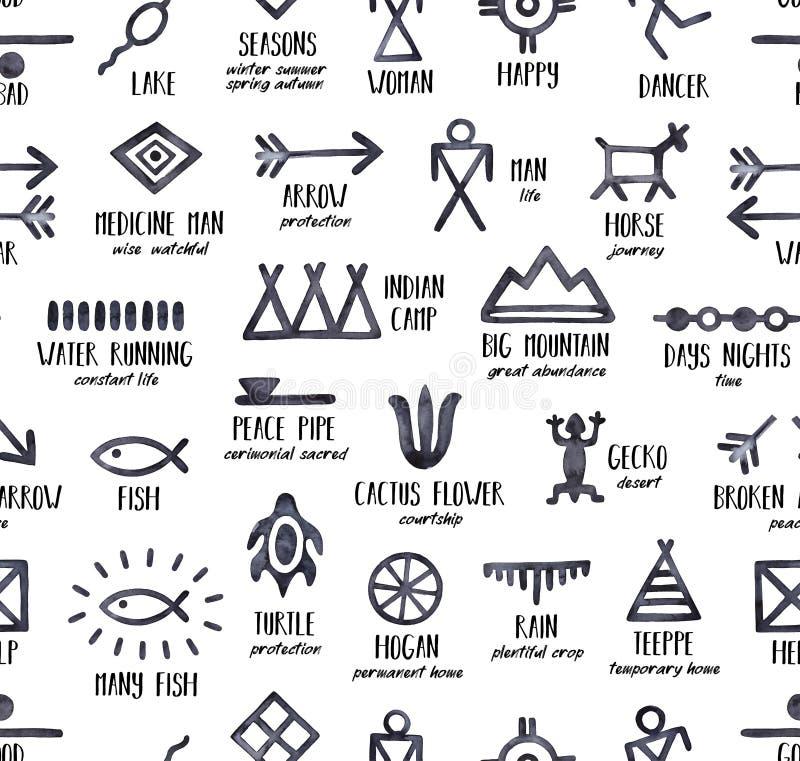 Zwart-wit naadloos herhaalbaar patroon met Native American-Symbolen en hun betekenissen stock illustratie