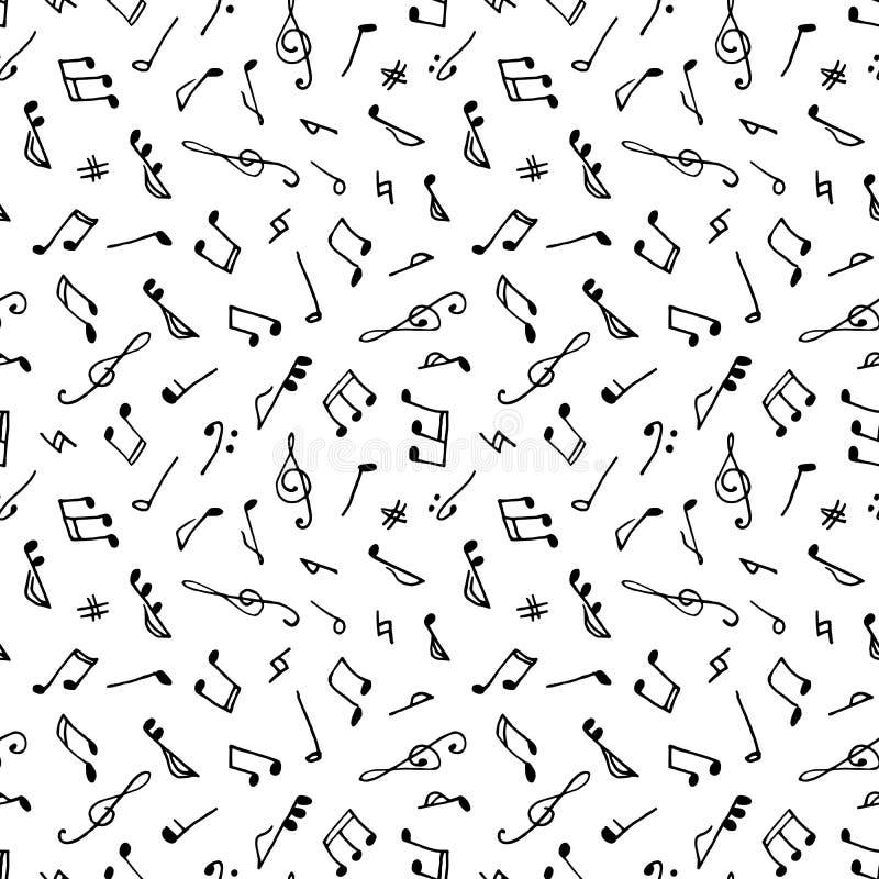 Zwart-wit naadloos muziekpatroon stock illustratie