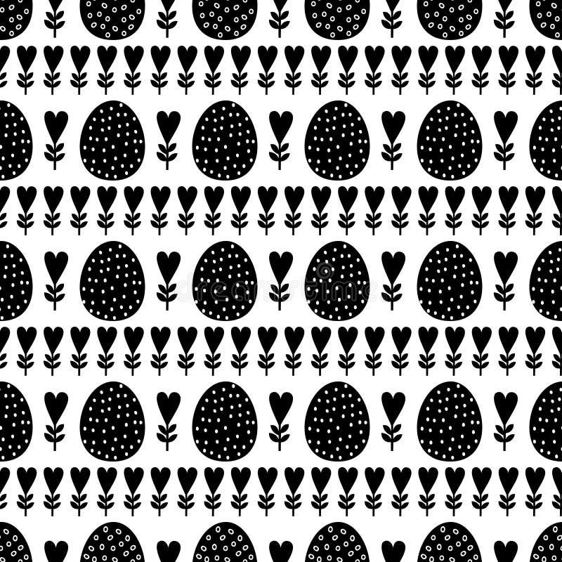 Zwart-wit naadloos Pasen-patroon, kaart Vectorachtergrond met paaseieren, de lentebloemen en harten vector illustratie