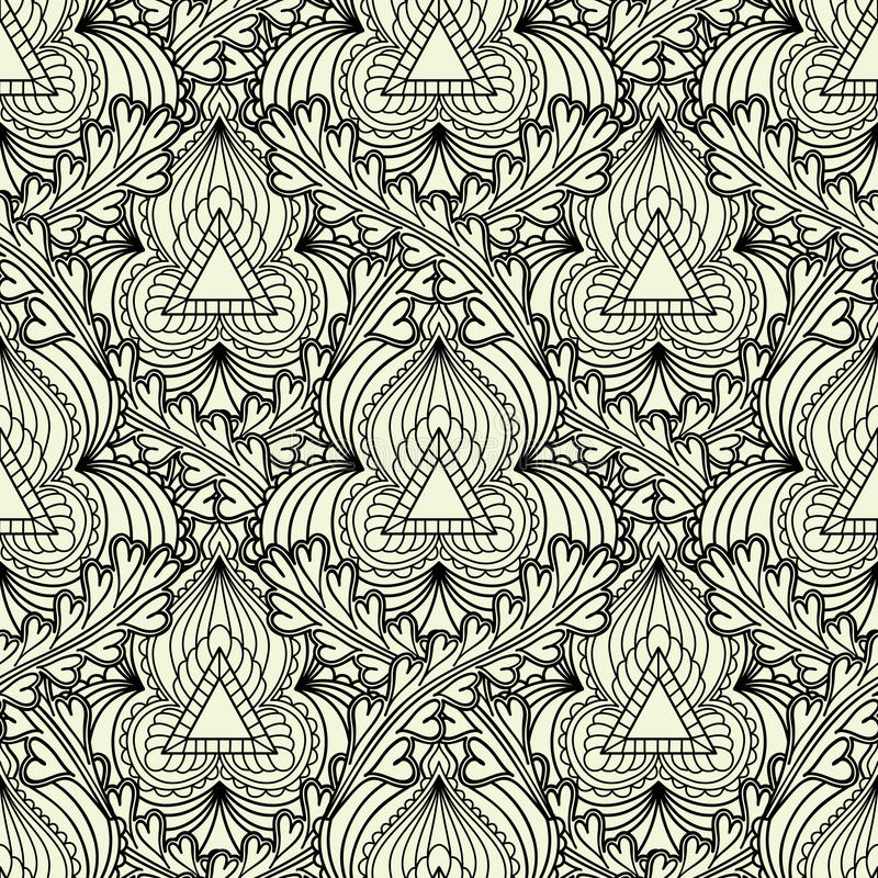 Zwart-wit naadloos patroon in Indische stijl royalty-vrije illustratie