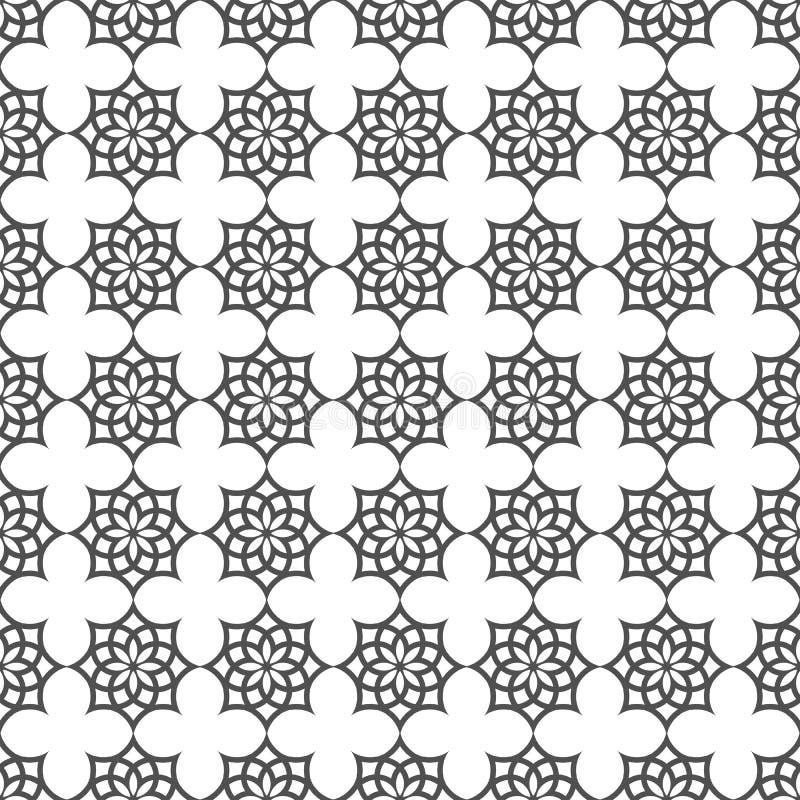 Zwart-wit naadloos patroon in Islamitisch motief royalty-vrije illustratie