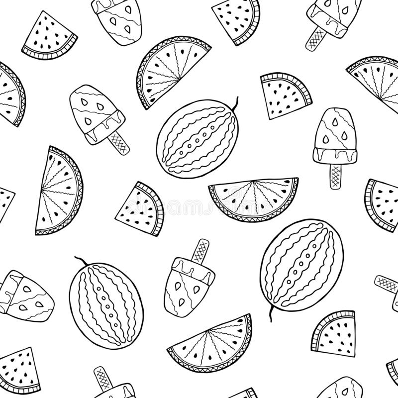 Zwart-wit naadloos patroon met abstract watermeloenen en roomijs royalty-vrije illustratie