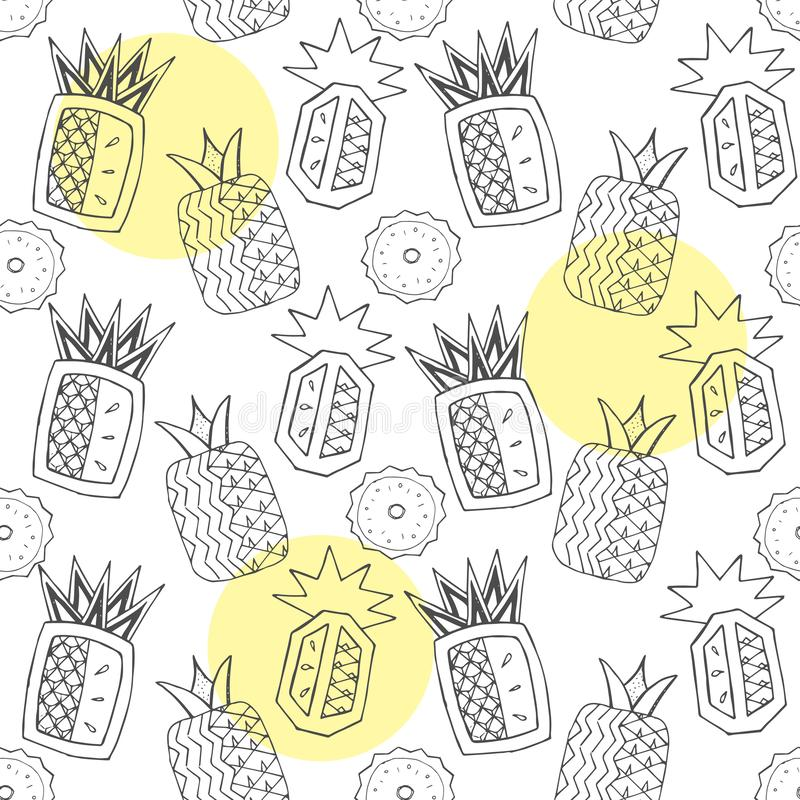 Zwart-wit naadloos patroon met abstracte ananassen stock illustratie