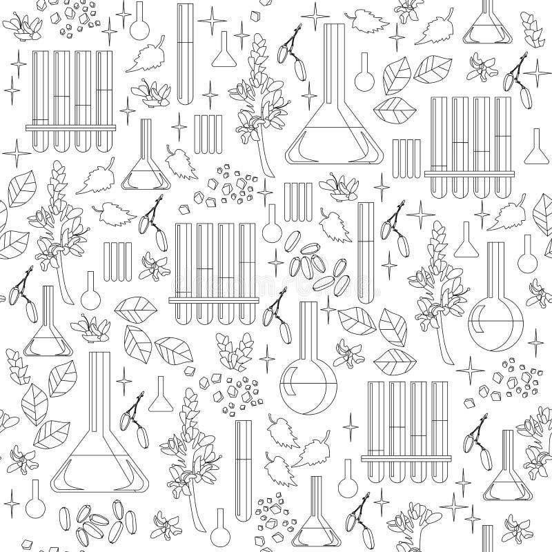 Zwart-wit naadloos patroon met alchemistisch materiaal royalty-vrije illustratie