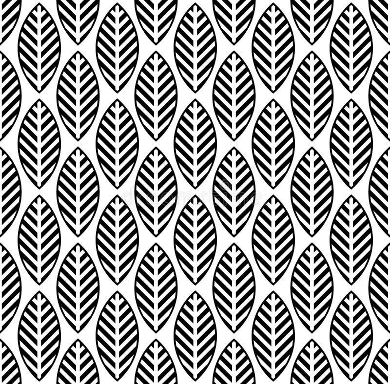 Zwart-wit naadloos patroon met blad royalty-vrije illustratie