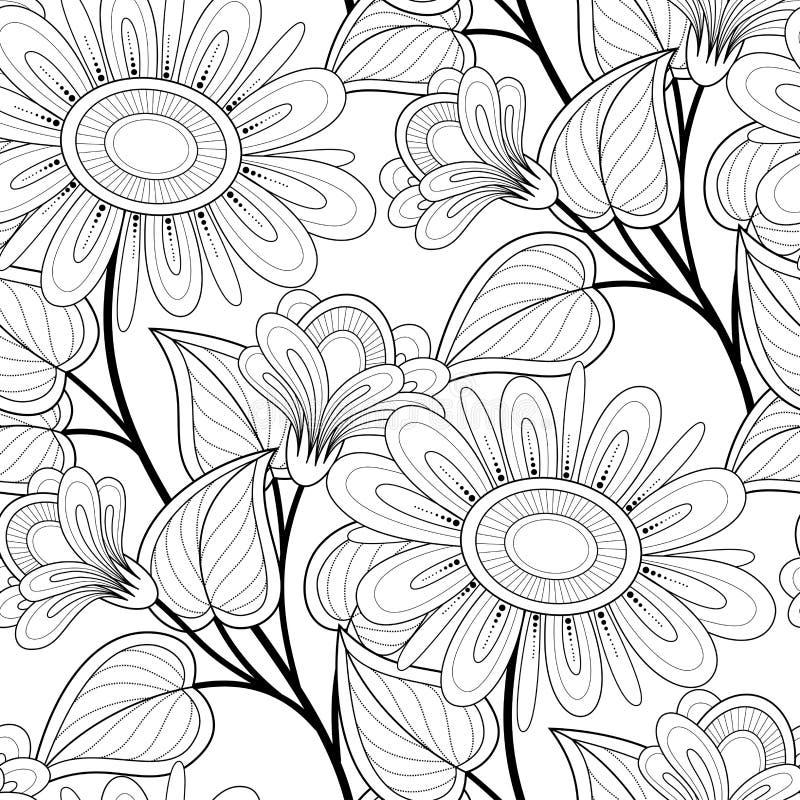 Zwart-wit Naadloos Patroon met Bloemenmotieven royalty-vrije illustratie