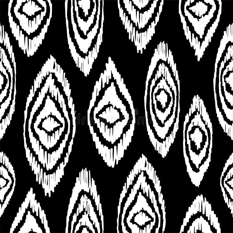 Zwart-wit naadloos patroon met bohovormen stock illustratie