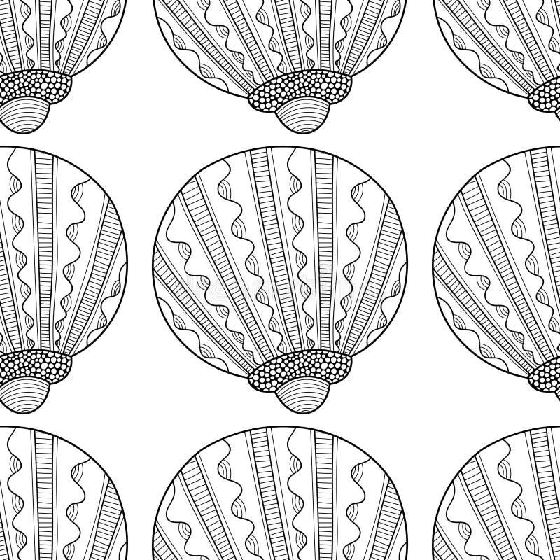 Zwart wit naadloos patroon met decoratieve overzeese shells voor het kleuren vector illustratie