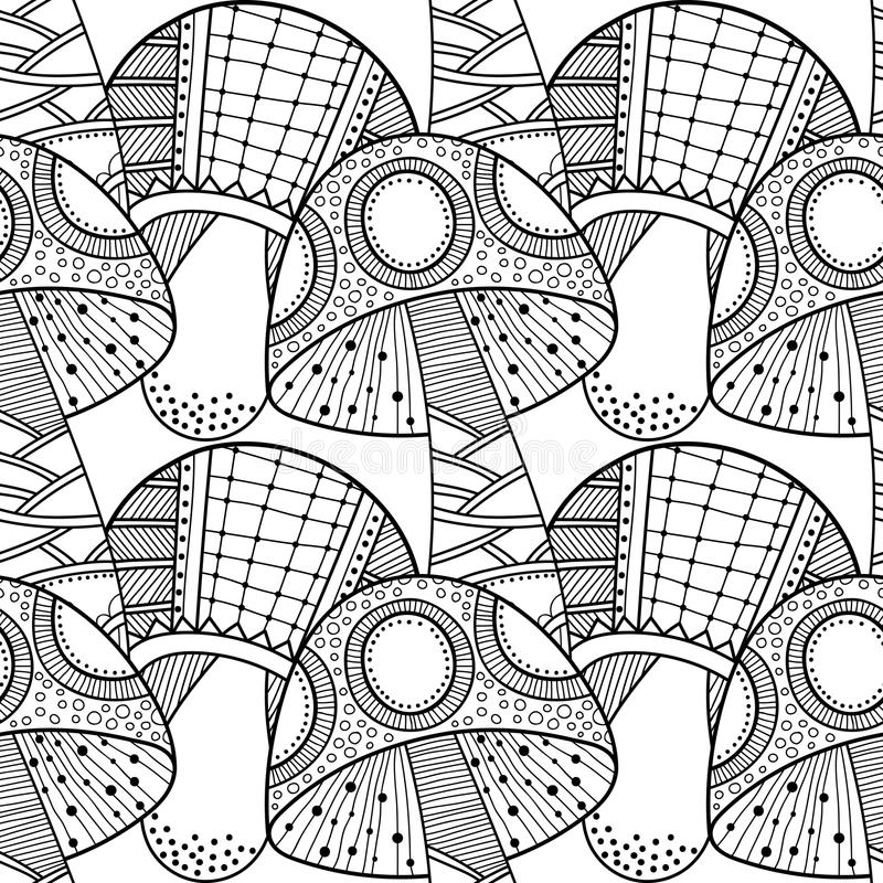 Zwart, wit naadloos patroon met decoratieve paddestoelen voor het kleuren van boek stock illustratie