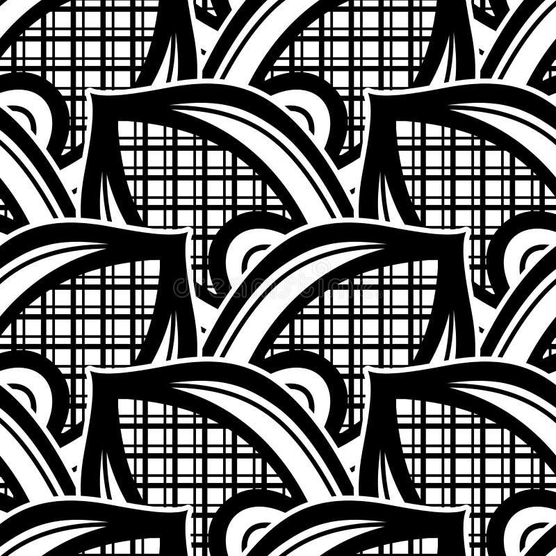Zwart-wit naadloos patroon met etnische motieven stock illustratie