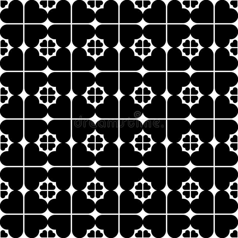 Zwart-wit naadloos patroon met hart modieuze, abstracte bedelaars royalty-vrije illustratie