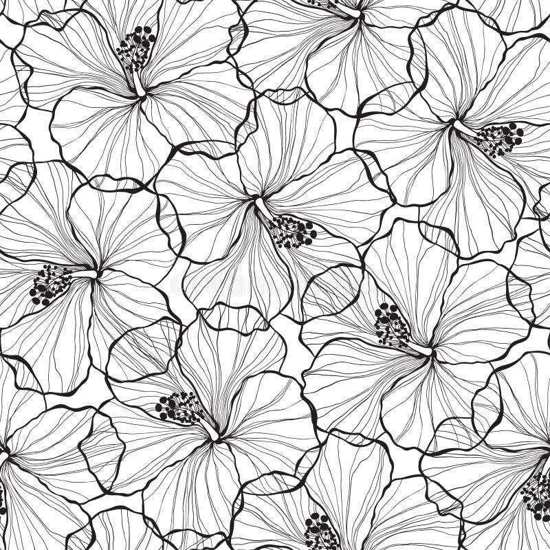 Zwart-wit naadloos patroon met hibiscusbloemen royalty-vrije illustratie